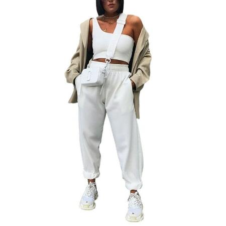 Xingqing Women High Waist Loose Sweatpants Solid Color Long Pants