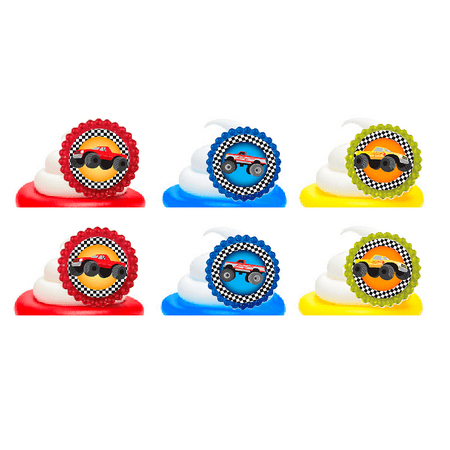 Monster Truck Big Wheeler Easy Toppers Cupcake Decoration Party Favor Rings -12pk