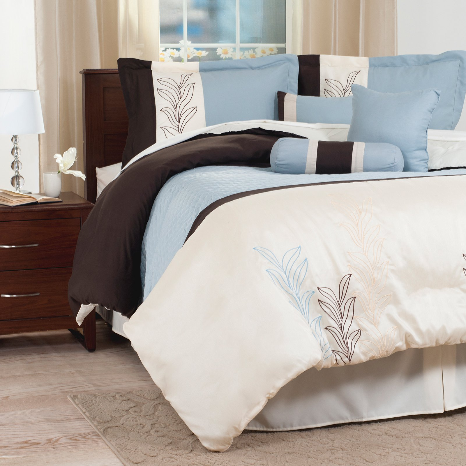 Samantha 7 Piece Embroidered Comforter Set by Lavish Home