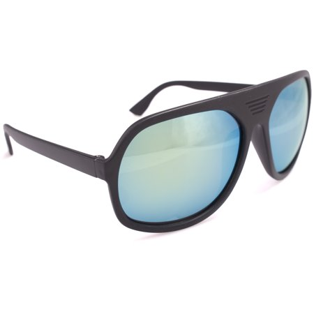 Retro Flat Top Plastic Black Aviator Shield Sunglasses, Lime Green Teal Lens (Dark Flattop)