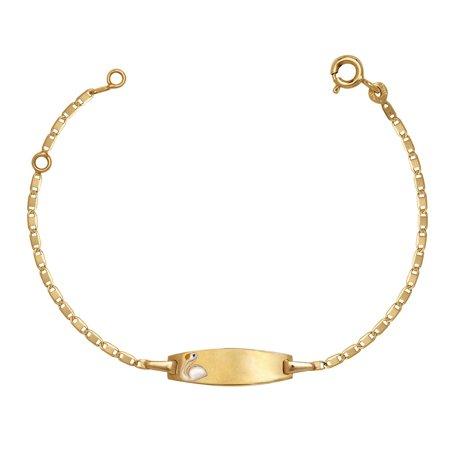 14k Yellow Gold 5.75 Inch Duck Enamel Baby Id Bracelet