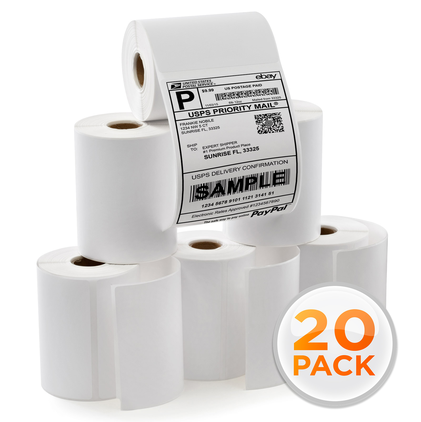Merit 20 Rolls 250 Each 4x6 Direct Thermal Labels For Zebra 2844 Eltron Zp450