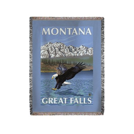 Great Falls  Montana   Eagle Fishing   Lantern Press Original Poster  60X80 Woven Chenille Yarn Blanket