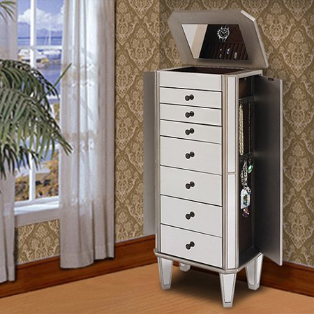 Powell Mirrored Wooden Jewelry Armoire, Silver - Walmart.com