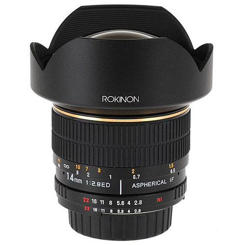 Rokinon FE14M-C 14mm F2.8 Ultra Wide Lens for Canon (Black) - Fixed