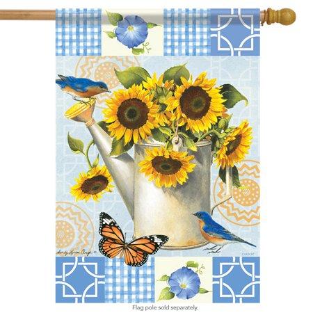 Sunflower Garden Watering Can House Flag Floral Butterfly Bluebirds  28