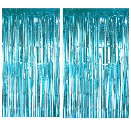 2Pcs Foil Curtains Backdrop Tinsel Backdrop Wedding Birthday Party Stage Decor](Tinsel Backdrop)