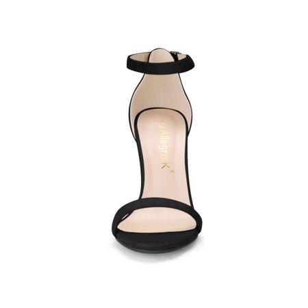 94a5815354881 Allegra K Women Stiletto High Heel Ankle Strap Sandals Black US 9