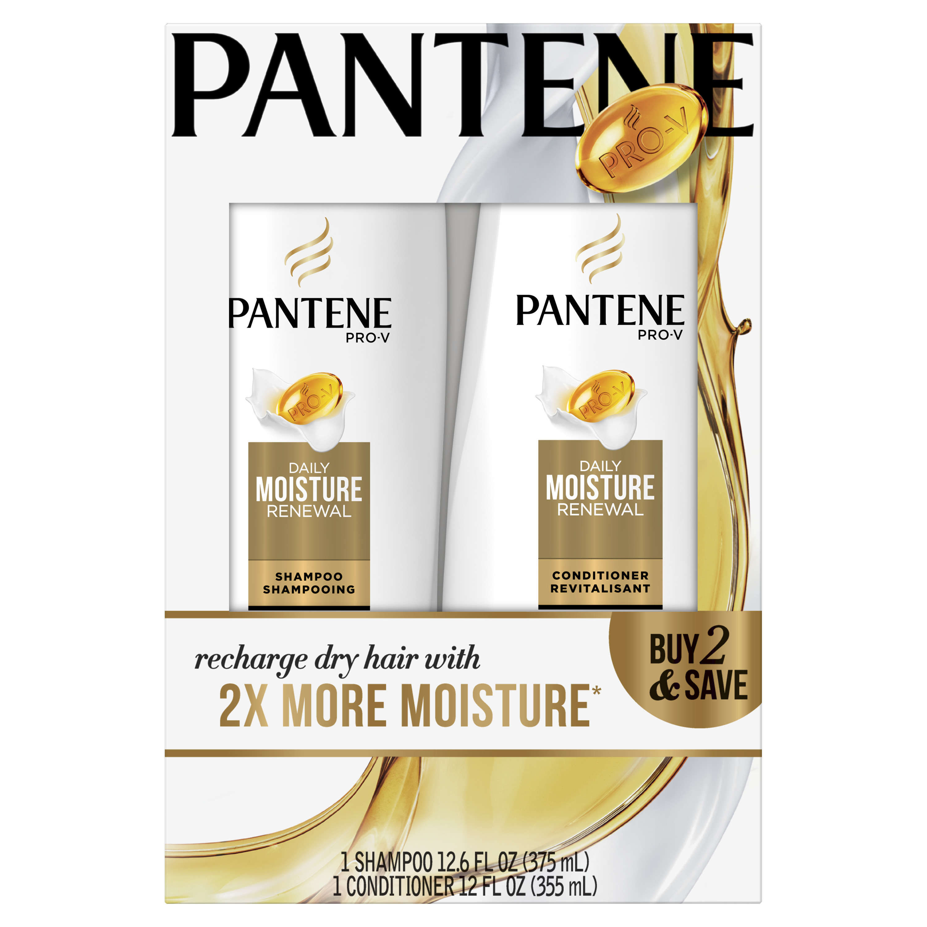 Pantene Pro-V Daily Moisture Renewal Shampoo and Conditioner Dual Pack, 24.6 fl oz