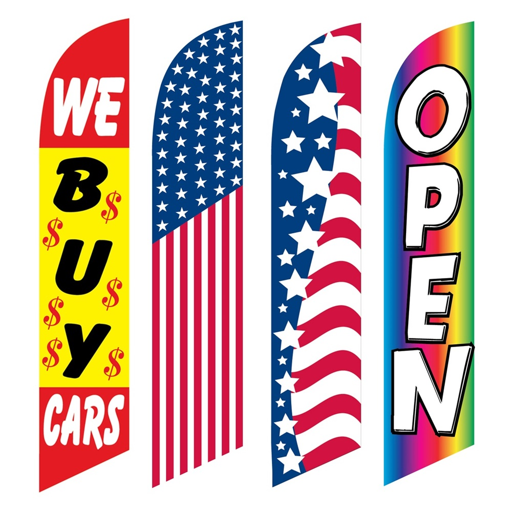 4 Advertising Swooper Flags We Buys Cars America Patriotic Open