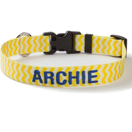 Personalized Yellow Chevron Dog Collar, Large