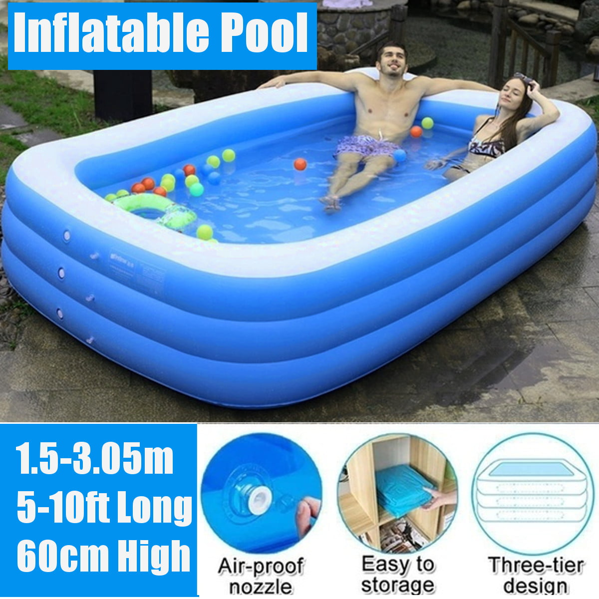 Family Inflatable Swimming Pools Above Ground Swimming Pool Outdoor Kiddie Pool Garden Backyard Beach Paddling Pool Swim Center 5ft 7ft 10ft Walmart Canada