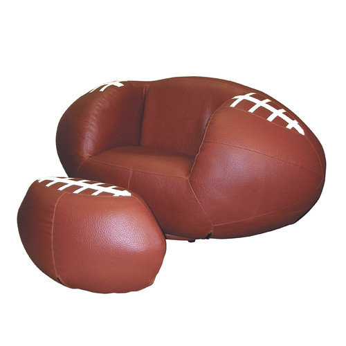 ORE Furniture Football Kid's Sports Novlety Chair and Ottoman Set