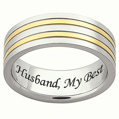 Personalized Men's Stainless Steel Striped Message Band
