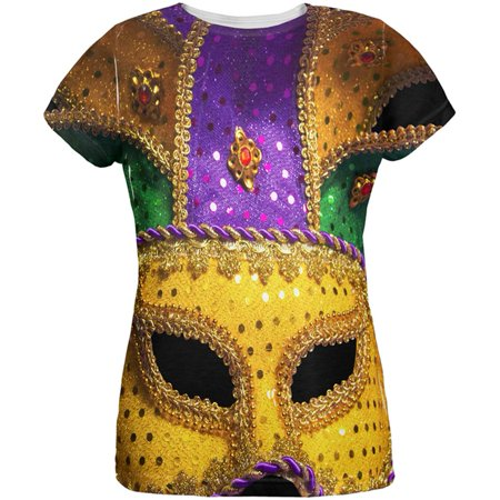 Mardi Gras Mask All Over Womens T Shirt - Famous Masked Women