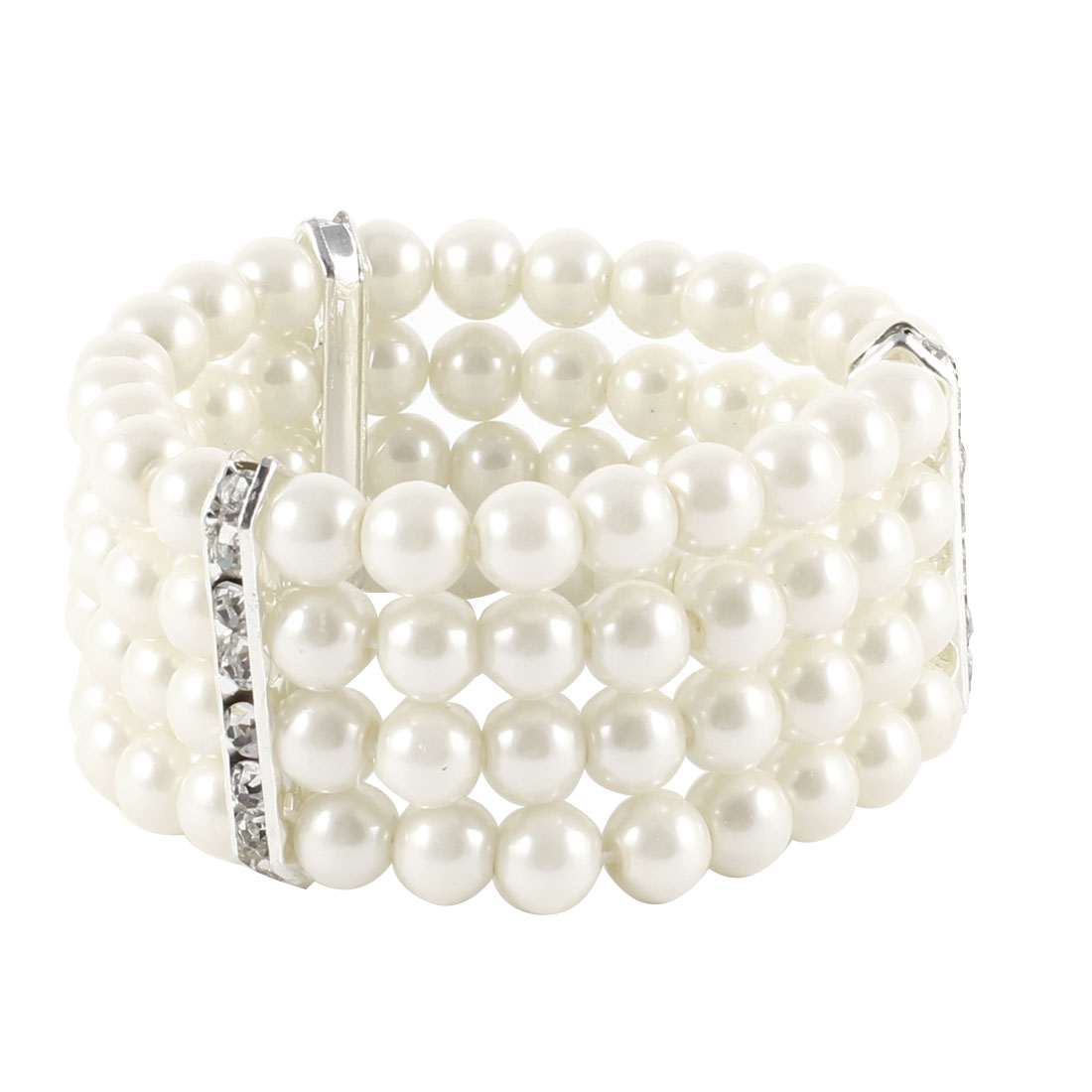Unique Bargains Women 4 Rows Faux Pearls Accent Off White Stretch Wrist Bracelet Jewelry