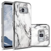 Galaxy S8 Case, KAESAR SLIM SLEEK FULL PROTECTION Hybrid Dual Layer Shockproof Hard Cover Graphic Fashion Cute Colorful Silicone Skin Case for Samsung Galaxy S8 - White Marble