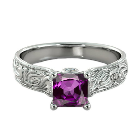 - 1.06 ctw Amethyst Ring with Diamonds 14K White Gold Filigree Cathedral Princess