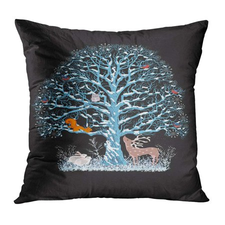 ECCOT Christmas Big Blue Tree Flock of Bullfinches Squirrel and Owl on It As Well Reindeer and Rabbits Near Pillowcase Pillow Cover Cushion Case 18x18 (Owls Well)