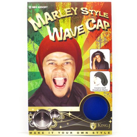 King.J Marley Style Wave Cap For Dreadlocks (Royal Blue) - 1 Pc. (Dreadlocks Costume)