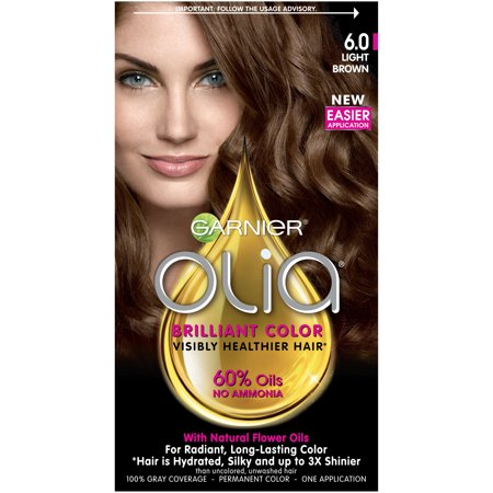 Garnier Olia Oil Powered Permanent Hair Color, 6.0 Light Brown - Dark Green Hair Dye