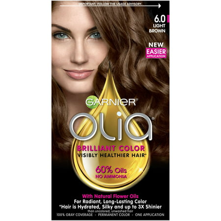 Garnier Olia Oil Powered Permanent Hair Color, 6.0 Light Brown, 1