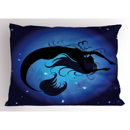 Mermaid Pillow Sham Silhouette of Legendary Aquatic Girl on Moon Sky Background Fictional Print, Decorative Standard King Size Printed Pillowcase, 36 X 20 Inches, Purple Black, by Ambesonne ()