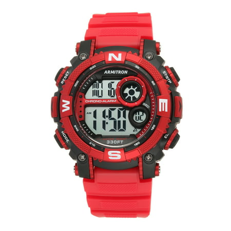 Men's Round Sport Watch, Red ()