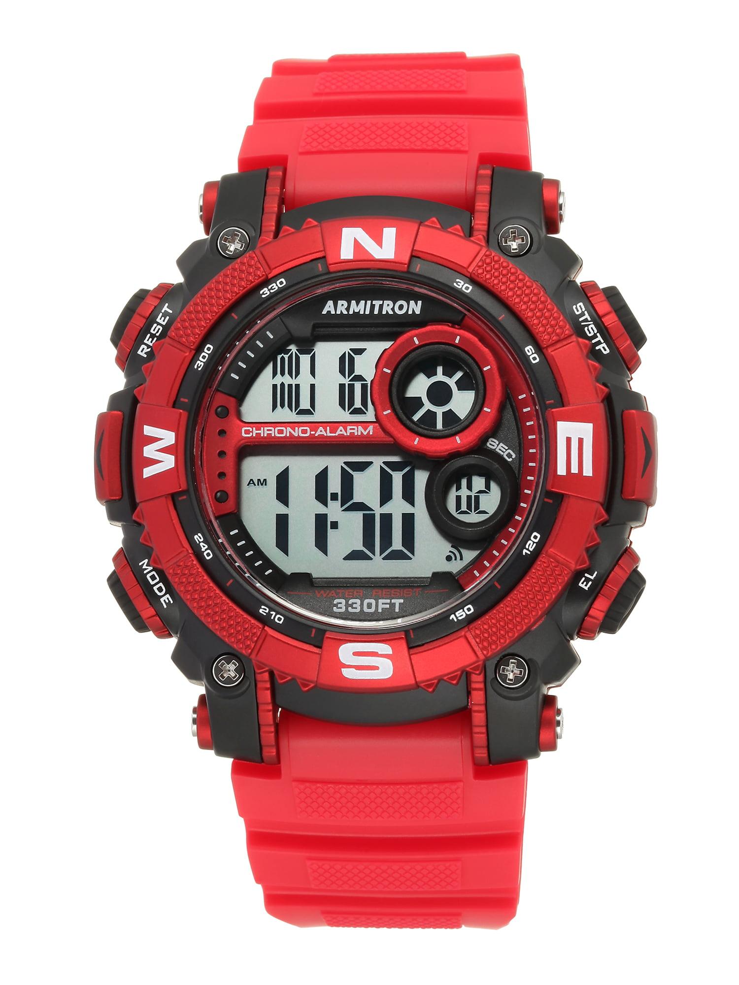 Armitron Men's Round Sport Watch, Red
