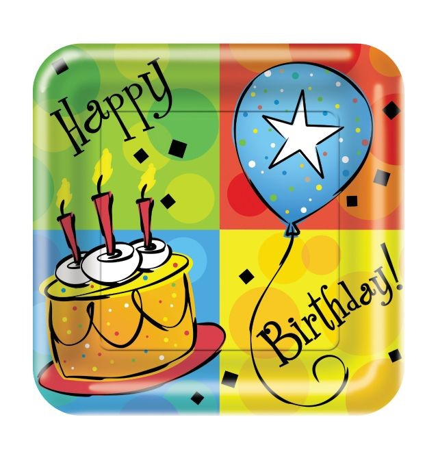 "Party Creations Cake Celebration Lunch Plate, Square, 7"", 8 Ct"