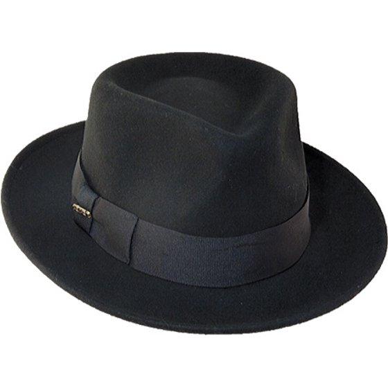 SCALA - Scala Classico Men s Wool Felt Crushable Black Fedora Hat ... c845d17753ee