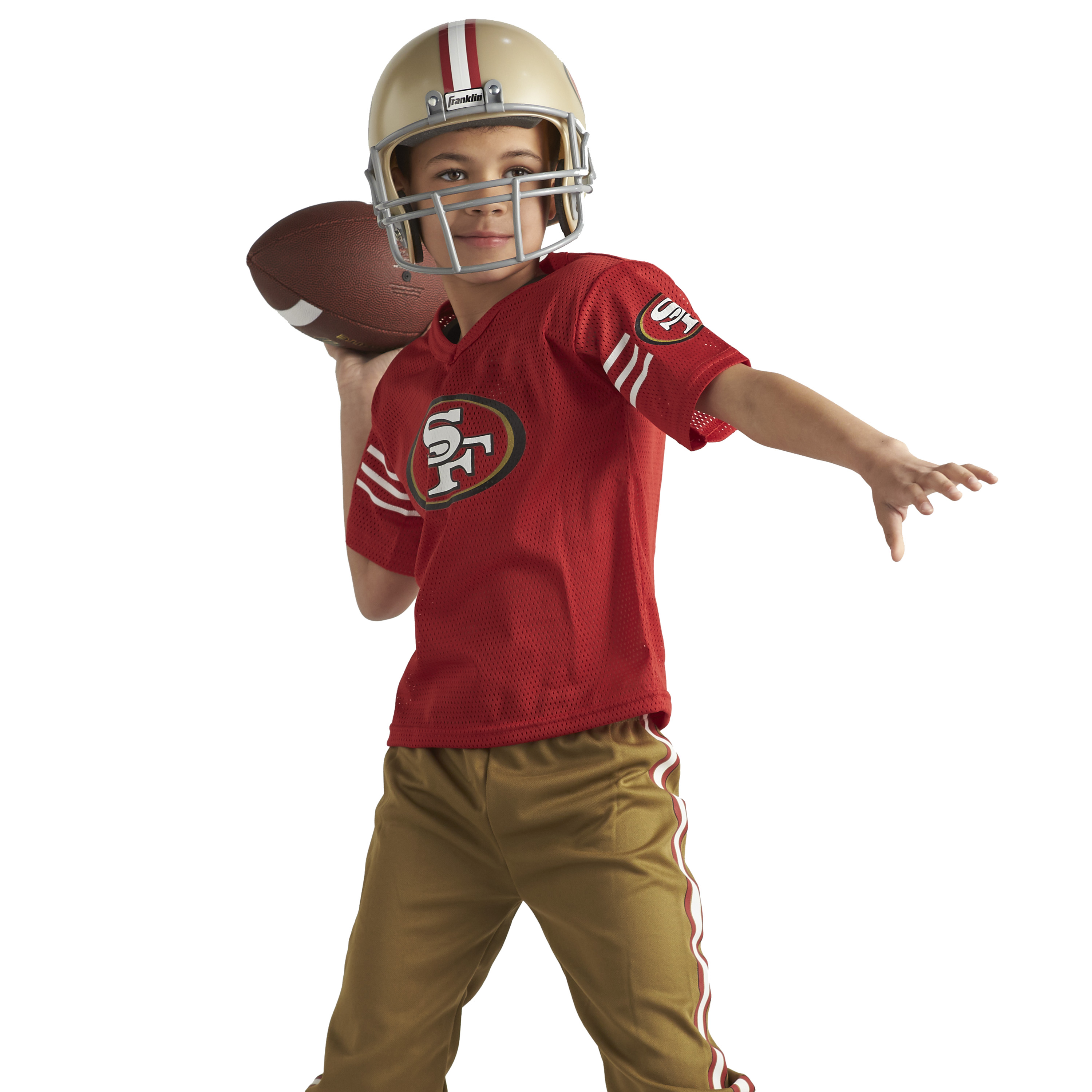 best service e18f9 5bb28 Details about Kids NFL San Francisco 49ers Jersey Helmet Costume Youth  Football Uniform Set M