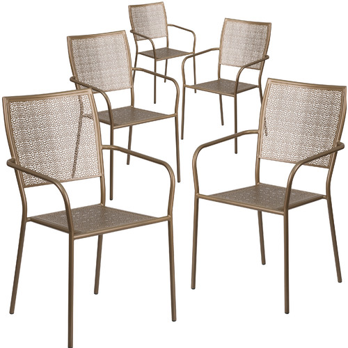 Flash Furniture 5 Pk. Black Indoor-Outdoor Steel Patio Arm Chair with Square Back