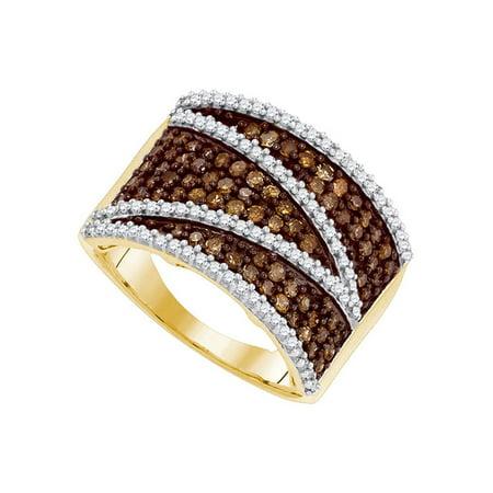 Courvoisier Vs Cognac - 10kt Yellow Gold Womens Round Cognac-brown Color Enhanced Diamond Stripe Band Ring 1.00 Cttw