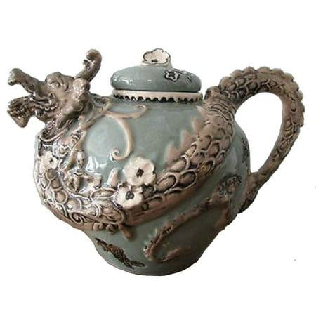 "JADE GREEN DRAGON Hand-Painted Ceramic Teapot, by Blue Sky Ceramics, 7"" Tall"