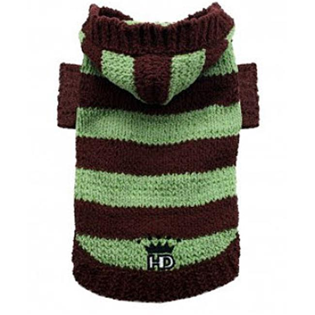 Hip Doggie HD-7STAV-XL Extra Large Super Soft Striped Sweater - Brown & Avocado - image 1 of 1