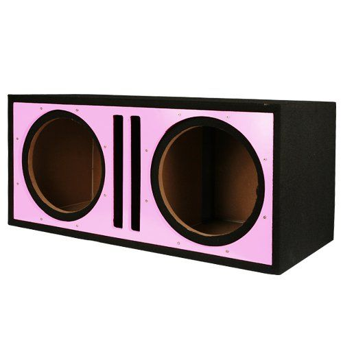 Absolute PDEB10PI Dual 10-Inch, 3/4-Inch MDF Twin Port Subwoofer Enclosure with Pink High Gloss Face Board