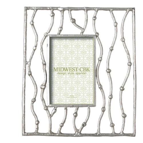 """Pack of 2 Elegant Silver Branch Cast Iron 4 x 6 Photo Picture Frames 11"""""""