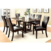 Furniture of America Jacobo Dark Cherry Faux Marble Top Storage Dining Table