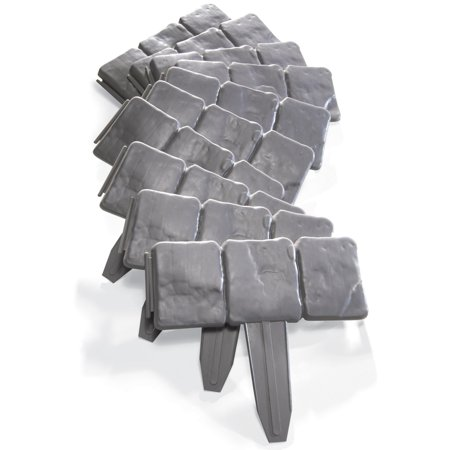Interlocking Faux Cobble Stone Landscaping Garden Border - Set Of 10, Grey