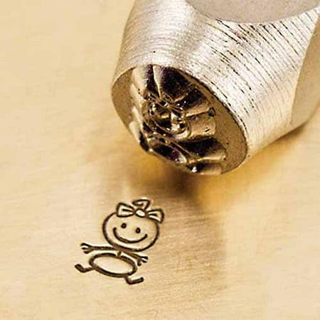 Baby Girl Stick Figure Design Stamp, - Baby Footprint Stamp