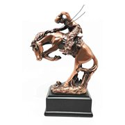 Western Rodeo Wild Cowboy With Bucking Horse Bronze Electroplated Figurine Statue