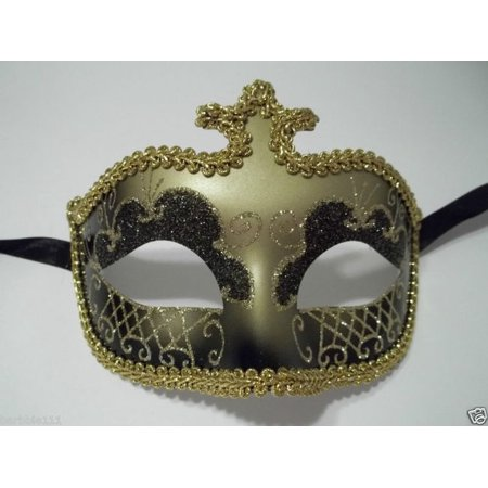 Black Gold Glitter Venetian Masquerade Costume Mask Halloween New Years Party (All Year Halloween Store)