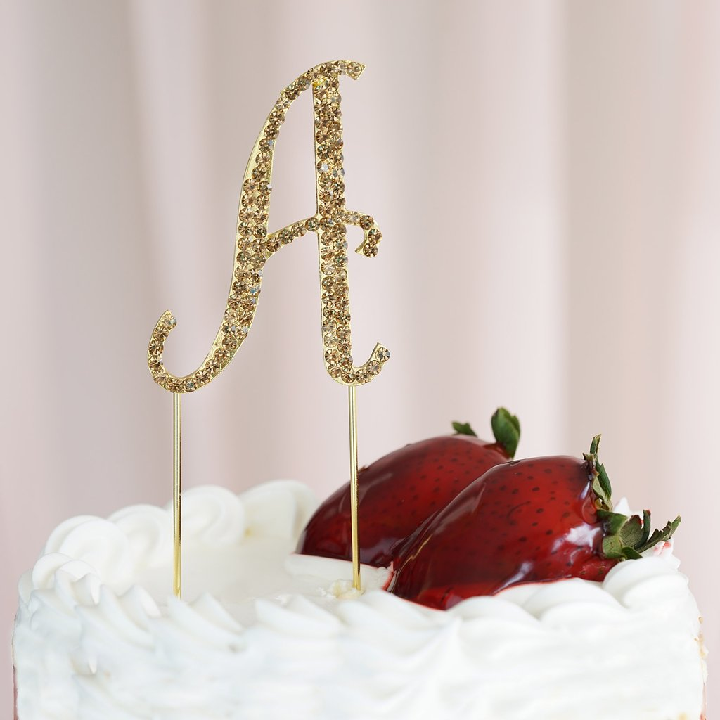 "Efavormart 2.5"" Tall Gold Shinny Rhinestone Letters Cake Toppers For Wedding Birthday Party Special Event Personalized Decorations"
