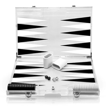Rolling 66 18-Inch Lucite Deluxe Backgammon Set Black Backgammon Set Large Attache
