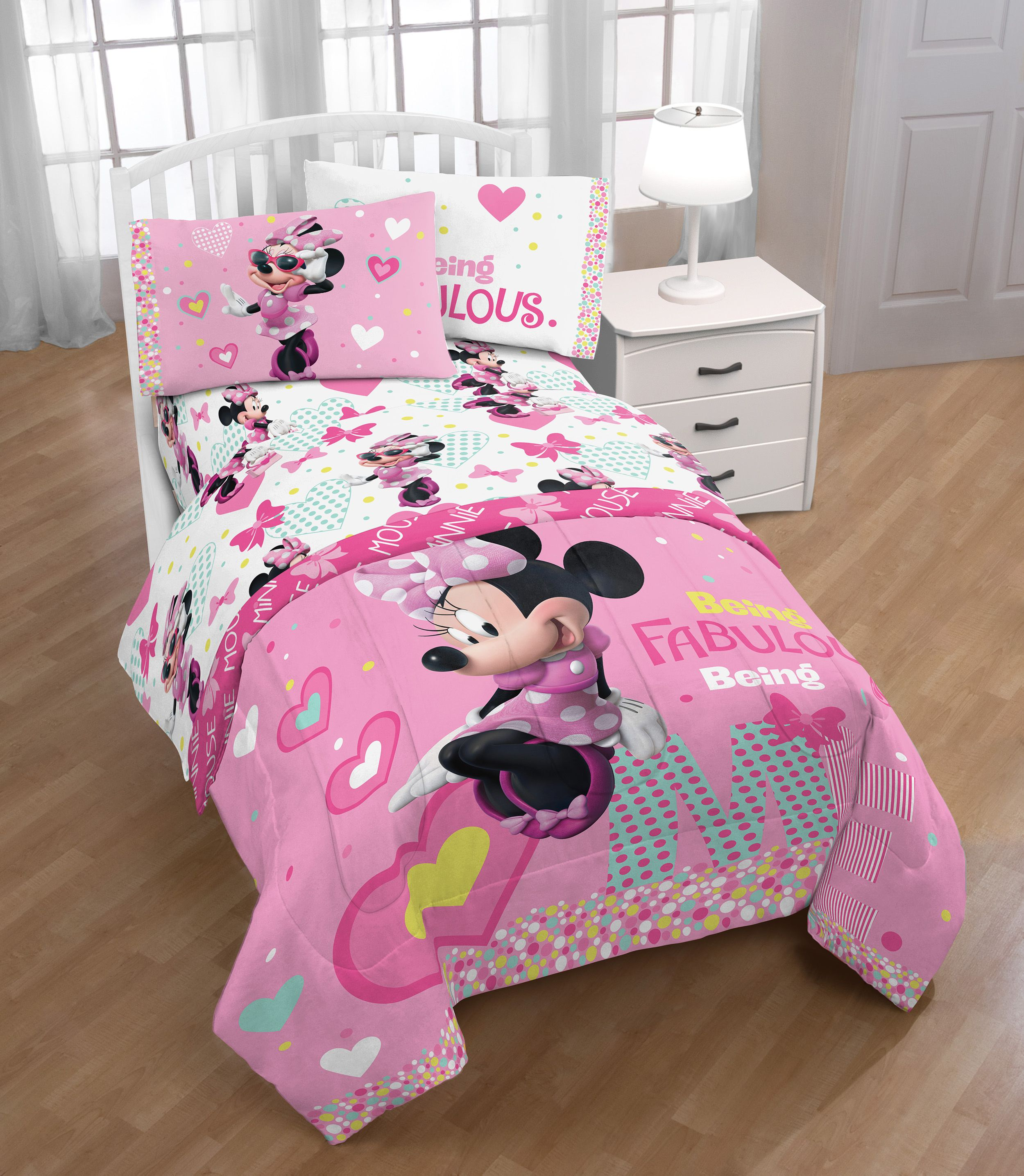 Disney Minnie /& mickey mouse Pink duvet cover set Bedding PERSONALISED