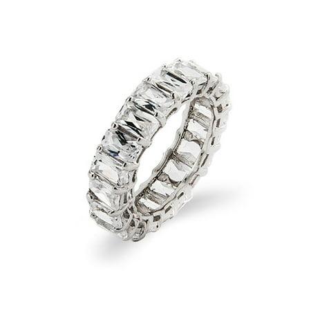 Sterling Silver Baguette Cut Diamond CZ Wedding Band Baguette Diamond Eternity Band