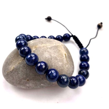 Fashion Jewery men Women Beautiful Lapis Lazuli Round Gemstone Macrame Style adjustable Bracelet- 91149 Lapis Lazuli Gemstone Bracelet