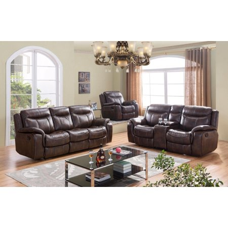 Mcferran Sf3739 S Brown Premium Leather Air Fabric Reclining Sofa