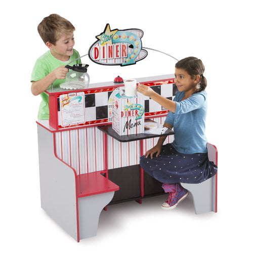 Melissa & Doug Double-Sided Wooden Star Diner Restaurant Play Space by Melissa & Doug